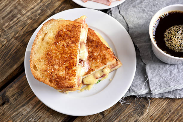 Breakfast toast sandwich stock photo