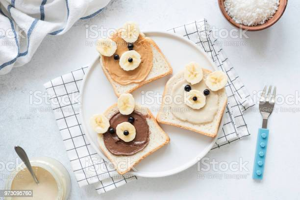 Breakfast toasts with nut butter and banana with cute funny animal picture id973095760?b=1&k=6&m=973095760&s=612x612&h=zutccjaplj85o6wqgy7moduyyajibct p82gifrtpey=