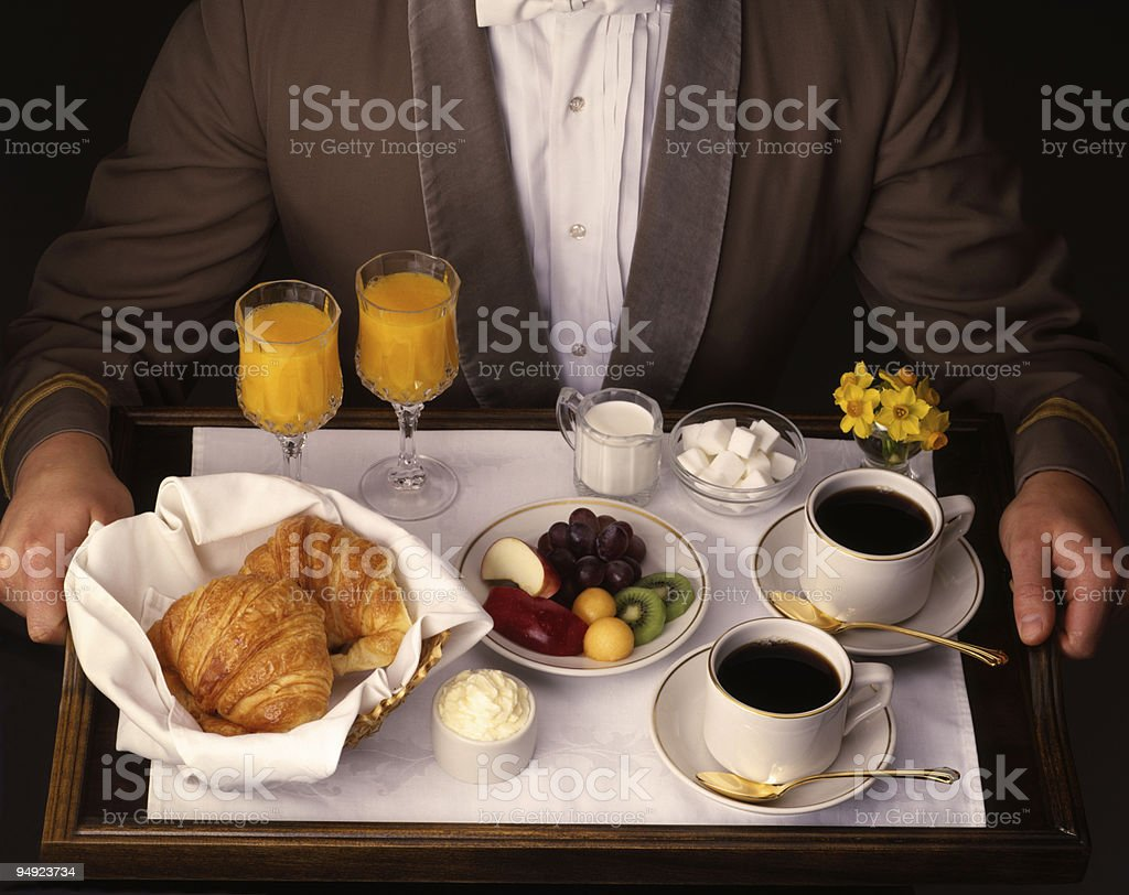 Breakfast Tray as Room Service 4x5 Film royalty-free stock photo