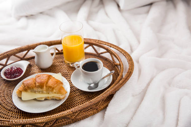 Breakfast Tray in Bed, Lifestyle stock photo