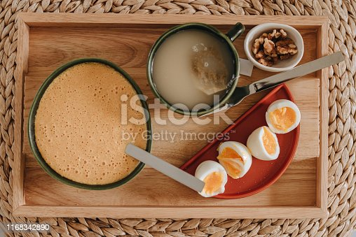 Breakfast tray keto low carb food Photo of healthy meal on wooden tray in morning Photo taken from above overhead flat lay style