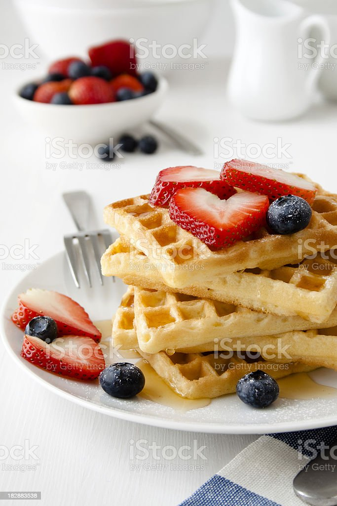 Breakfast waffles. stock photo