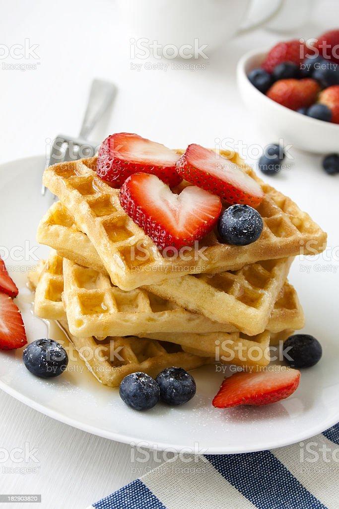 Breakfast waffles. stock photo