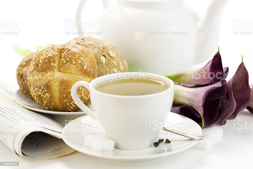 Breakfast whith green tea Crusty French Bread royalty-free stock photo