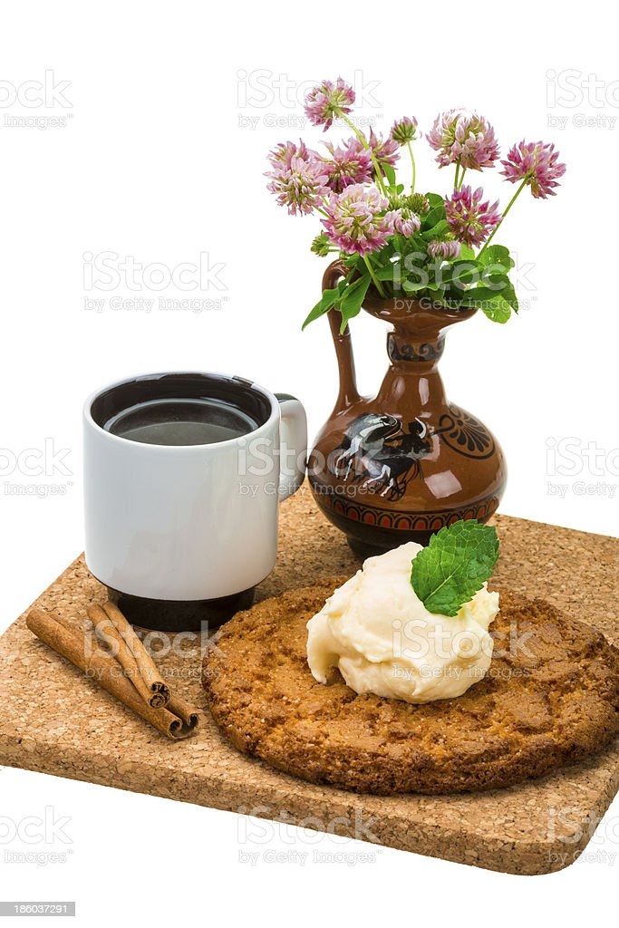 Breakfast wirh coffee and cookie royalty-free stock photo