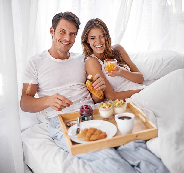 Breakfast with a dose of laughter! stock photo
