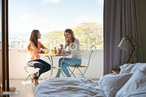 Shot of two friends eating breakfast together on a balcony