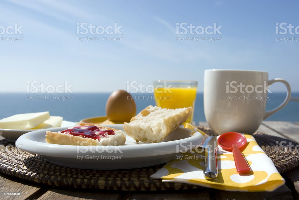 Breakfast with a view royalty free stockfoto