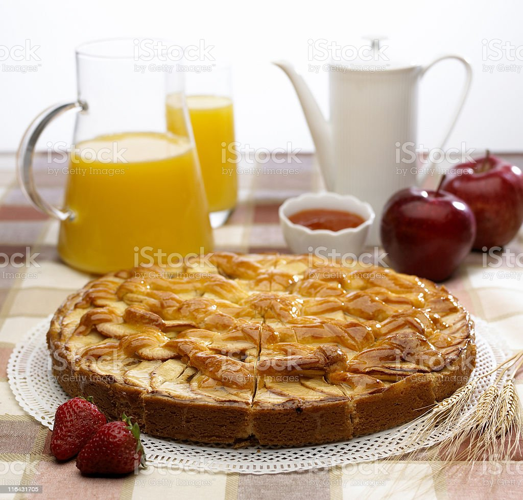 breakfast with apple pie royalty-free stock photo