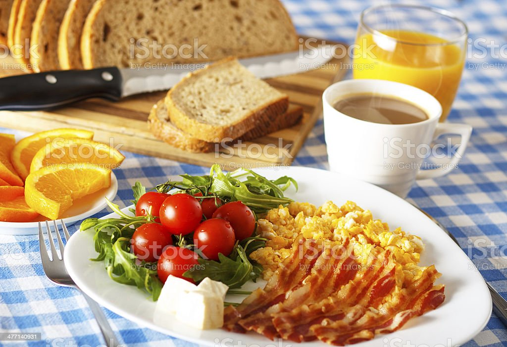 Breakfast with Bacon and Eggs royalty-free stock photo