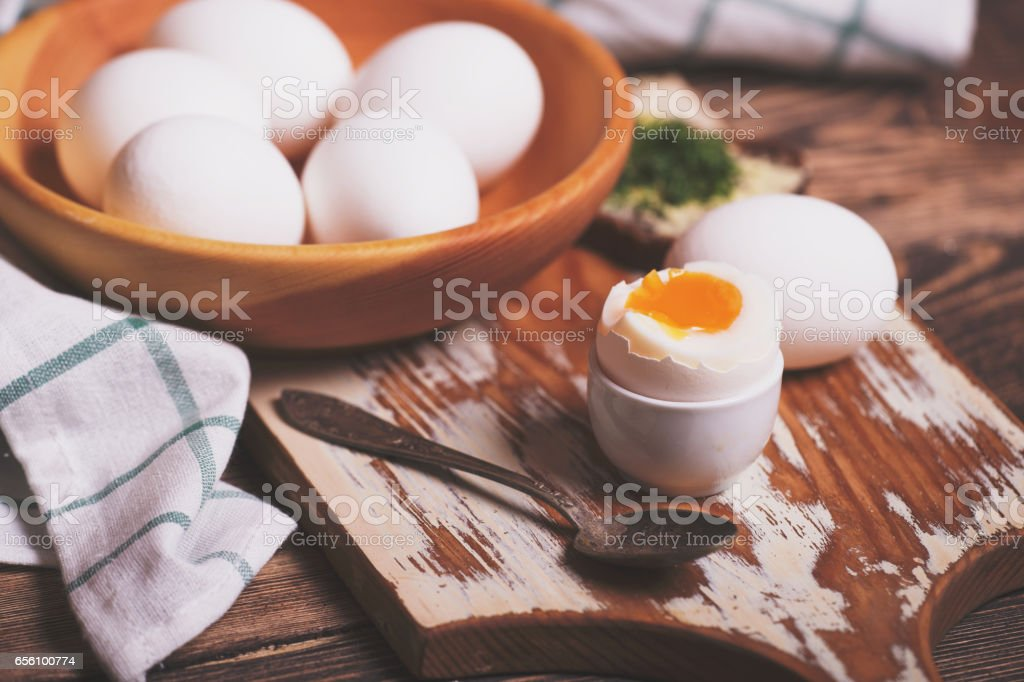 Breakfast with boiled eggs stock photo