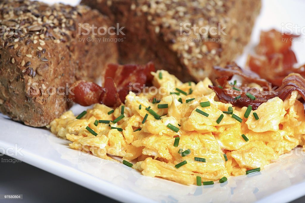 breakfast with bread,bacon and eggs royalty-free stock photo