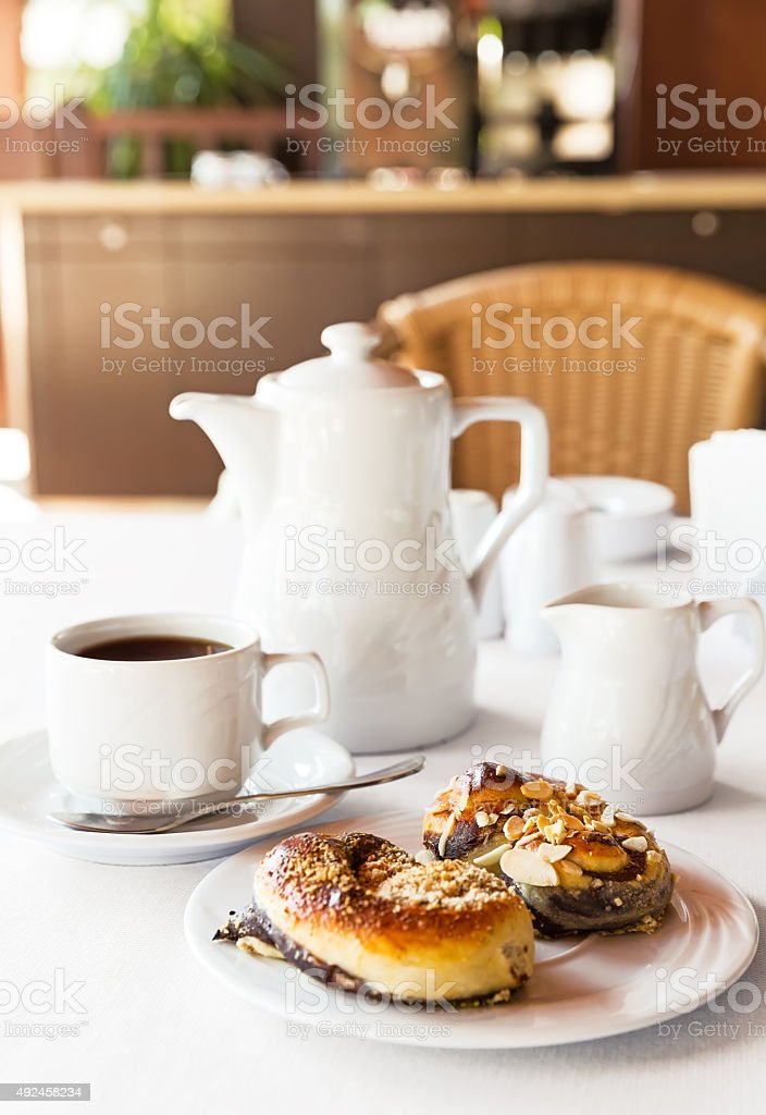 Breakfast with cake and coffee stock photo