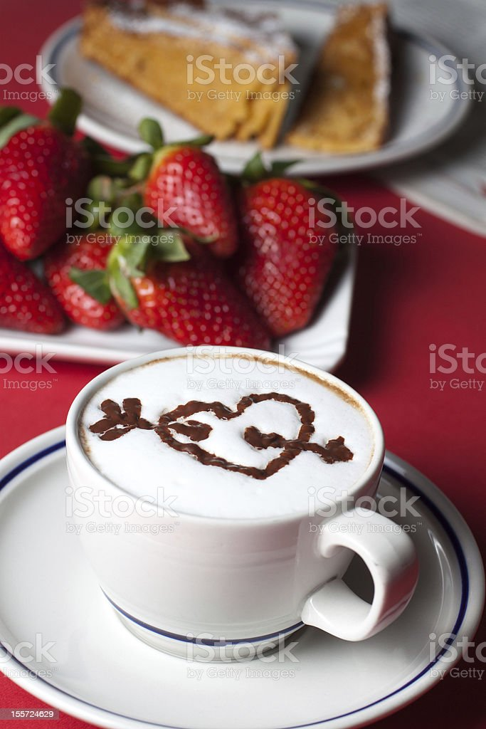 Breakfast with cappuccino royalty-free stock photo
