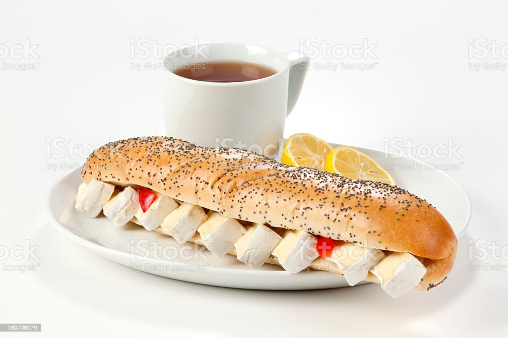Breakfast with cheese sandwich royalty-free stock photo