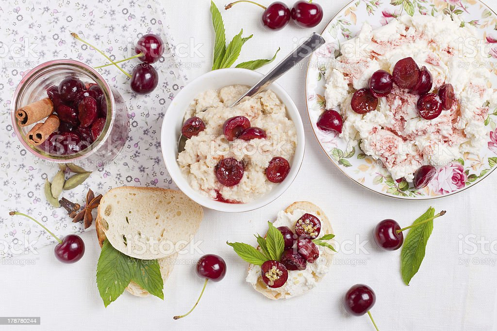 Breakfast with cherries royalty-free stock photo