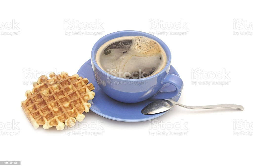 Breakfast with coffee and homemade waffles on white stock photo