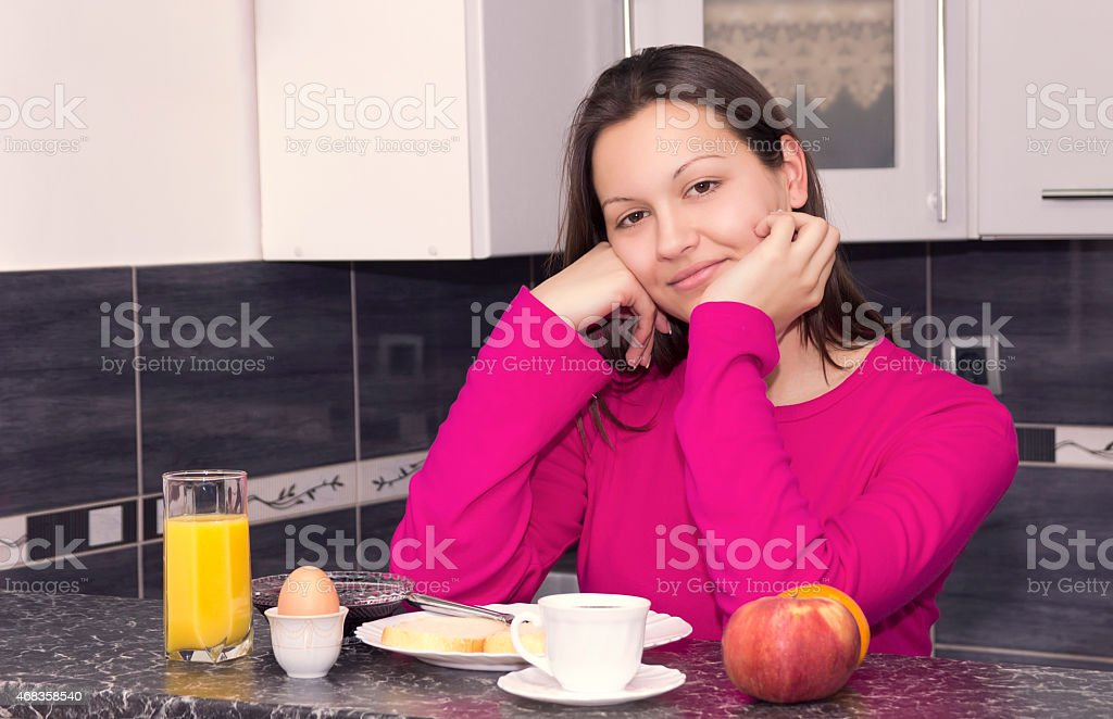 Breakfast with coffee, eggs, blackberry jam, orange juice, fruit royalty-free stock photo