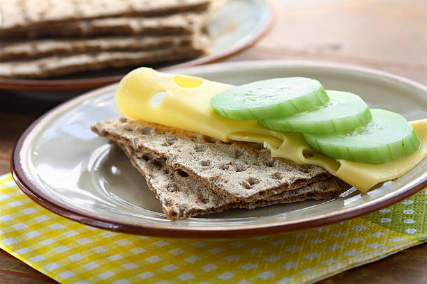 Breakfast with crispbread stock photo