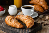 istock Breakfast with croissants, coffee, orange juice and berries 1001971972