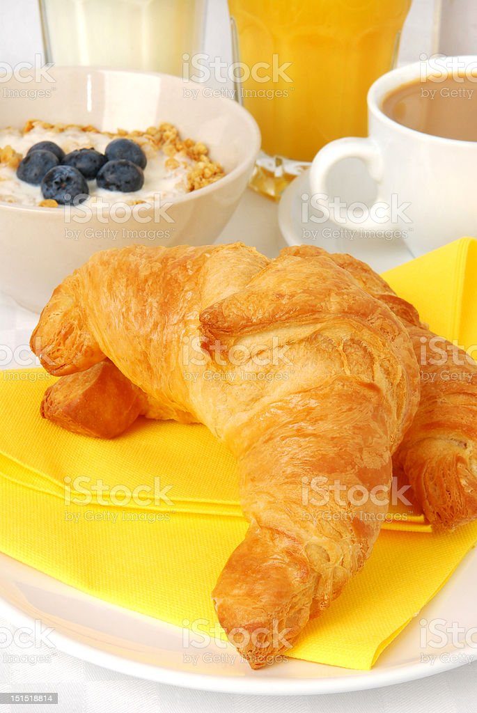 Breakfast with croissants royalty-free stock photo