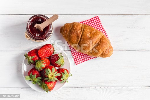 885959540istockphoto breakfast with cup of coffee, croissant, jam and strawberries 531628032