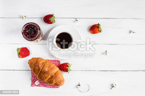 885959540istockphoto breakfast with cup of coffee, croissant, jam and strawberries 540591604