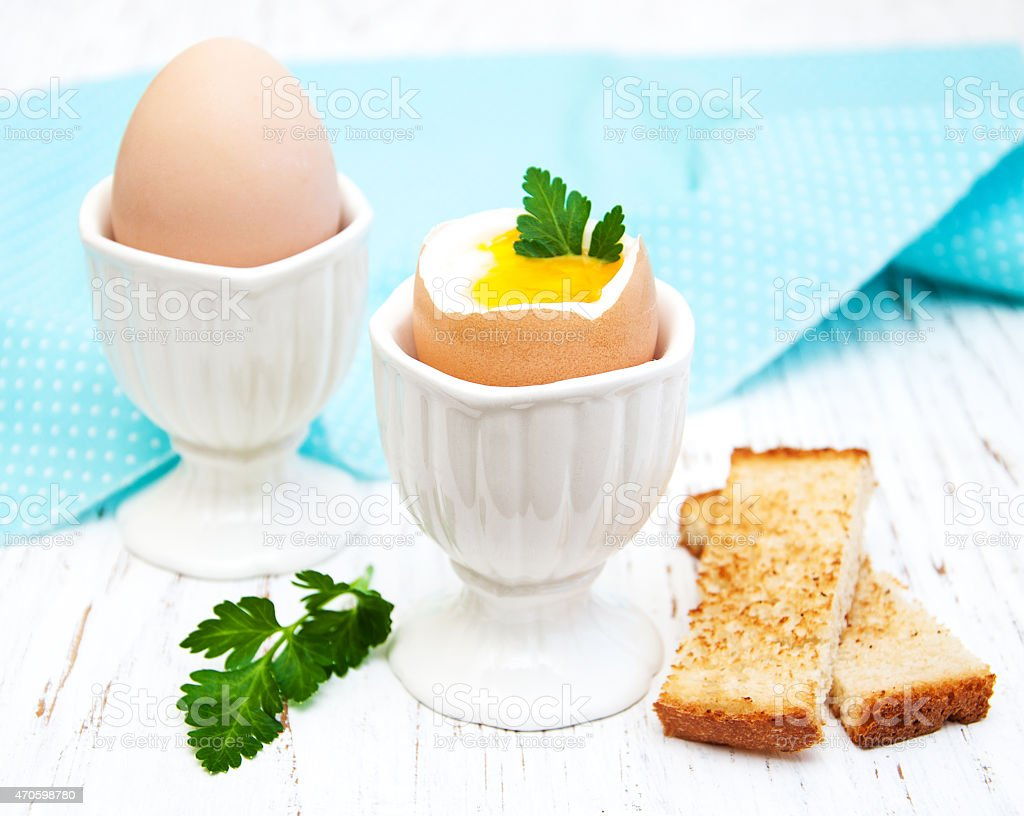 breakfast with eggs and toast stock photo