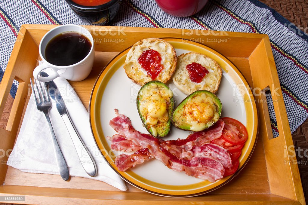 Breakfast with Eggs on Avocado royalty-free stock photo