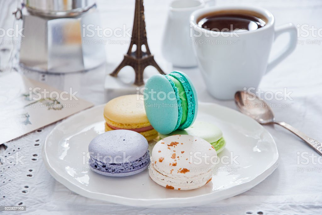 Breakfast with French colorful macarons