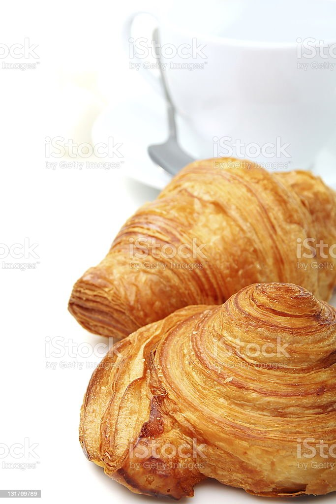 Breakfast with fresh croissants. royalty-free stock photo