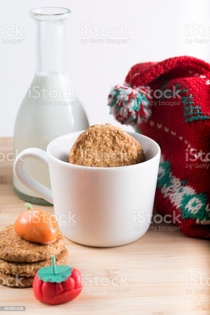 Breakfast with fresh milk, biscuits and candy stock photo