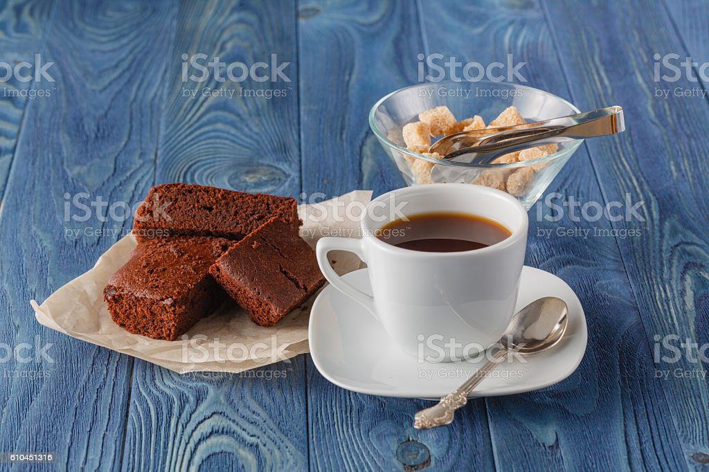 Breakfast with freshly brewed coffee and brownie stock photo