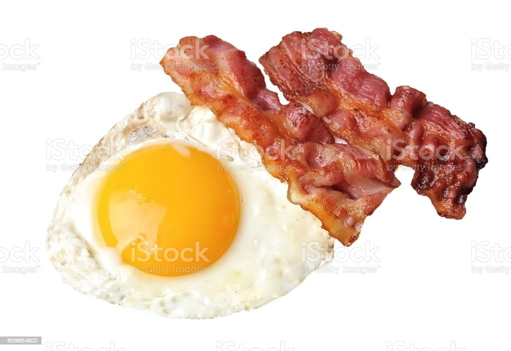 Breakfast with fried eggs and bacon stock photo