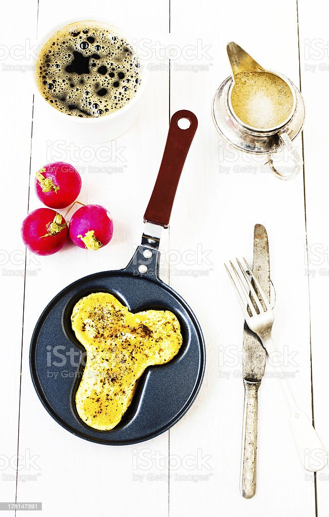 Breakfast with fried eggs in fun form of penis royalty-free stock photo