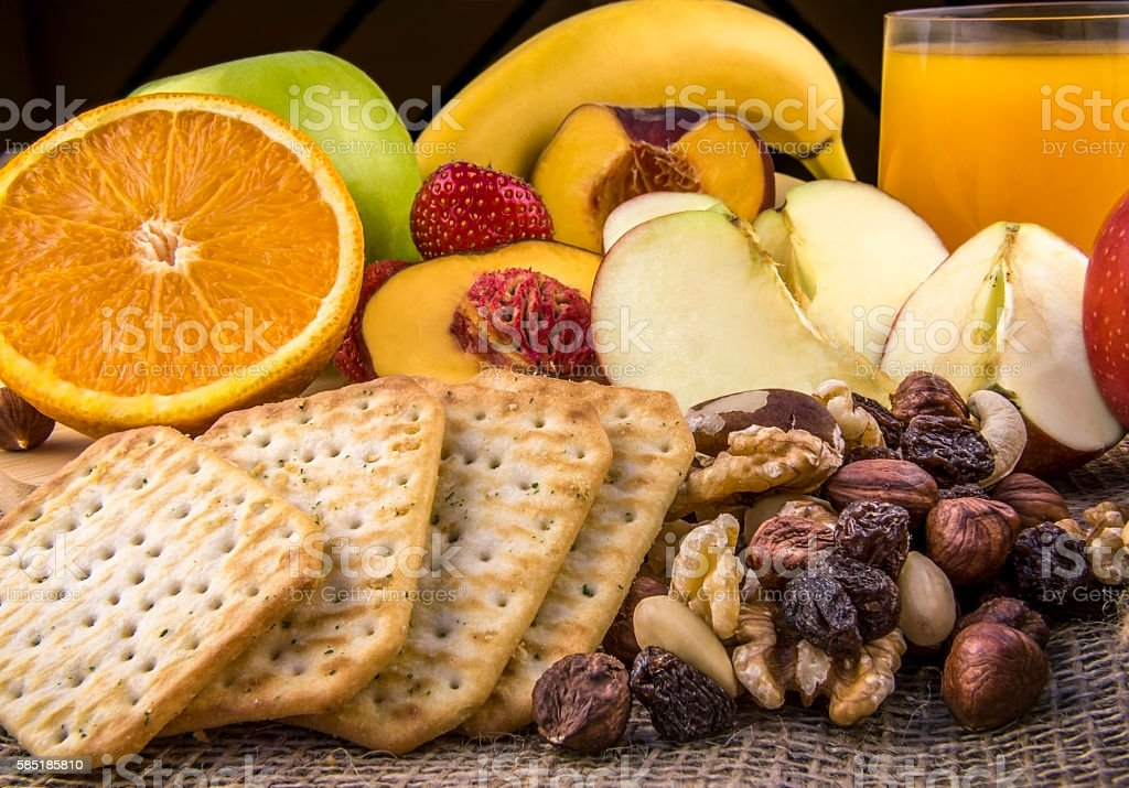 Breakfast with fruits and nuts stock photo
