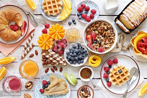 istock Breakfast with granola, croissant, fresh waffles, fruits and berries 1142264904