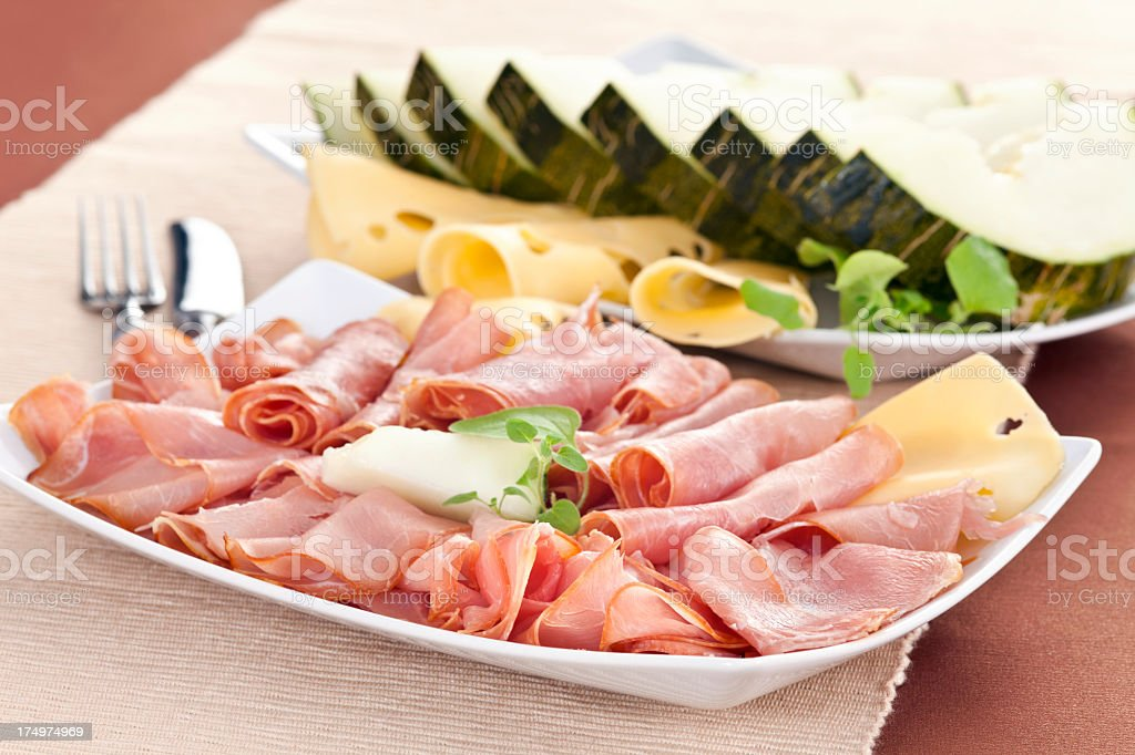 Breakfast with ham and prosciuto royalty-free stock photo