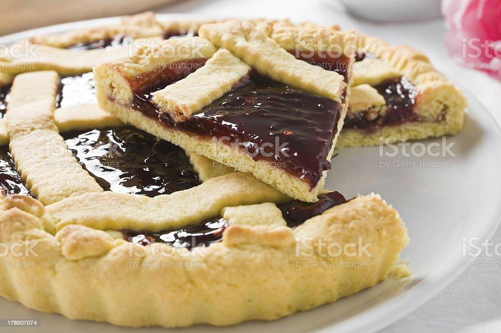 Breakfast with jam tart in white dish. stock photo