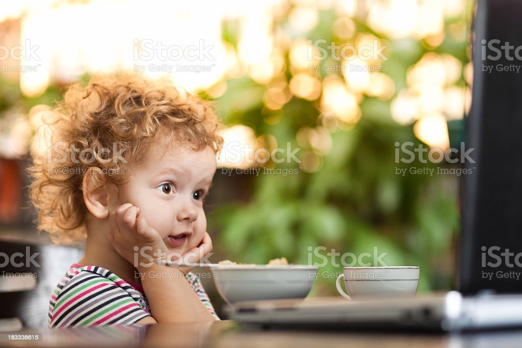 Breakfast with laptop royalty-free stock photo