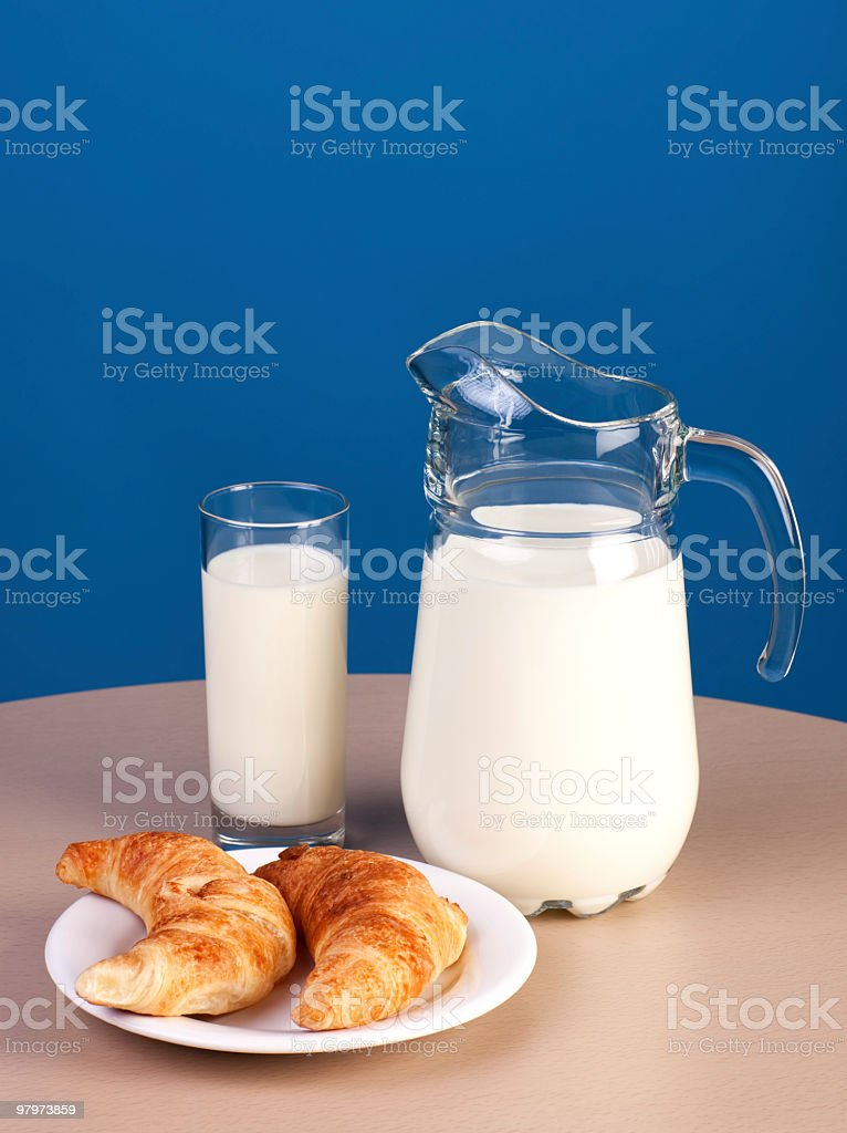 Breakfast with milk and croissants royalty-free stock photo