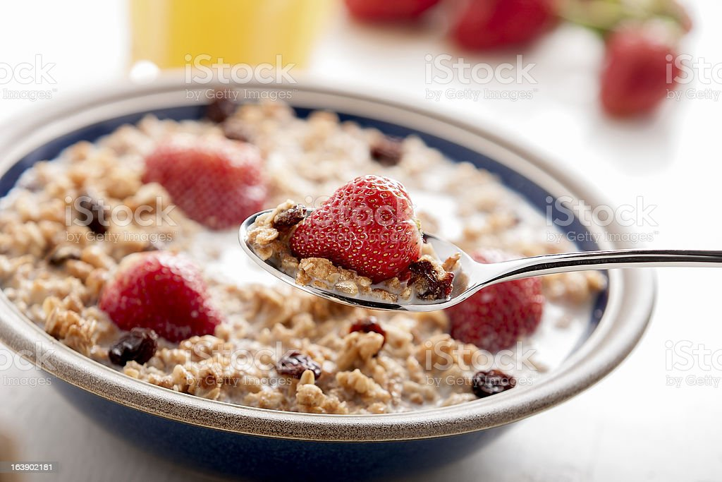 Breakfast with muesli and fruit. royalty-free stock photo