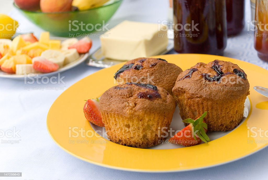 Breakfast with Muffins,fruits,jam royalty-free stock photo