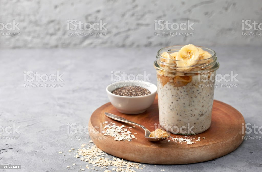breakfast  with overnight oatmeal stock photo