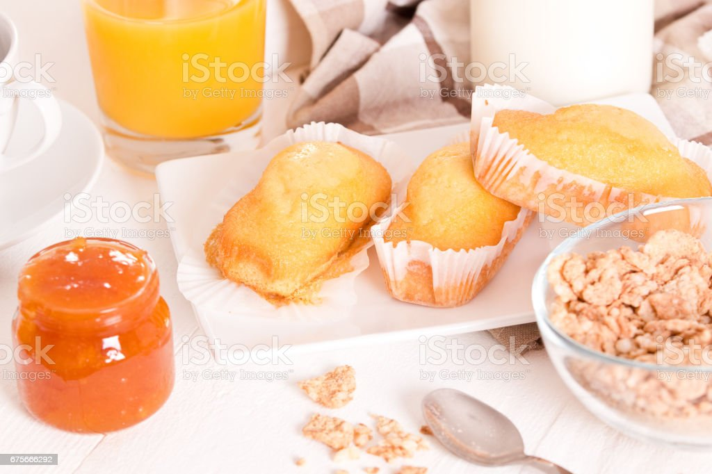 Breakfast with plumcake. royalty-free stock photo