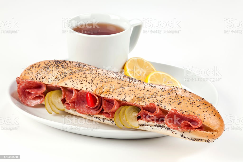 Breakfast with salami sandwich royalty-free stock photo