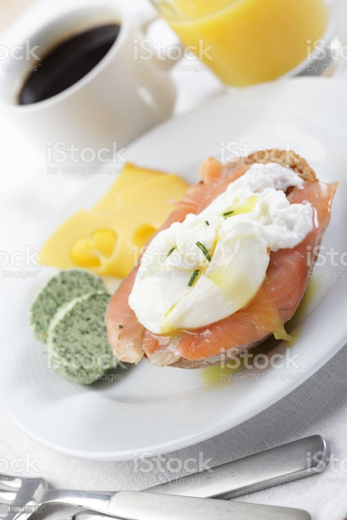 Breakfast with salmon and poached egg royalty-free stock photo