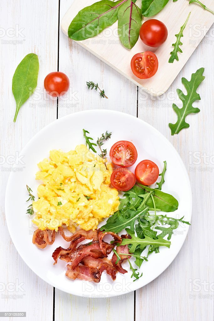 Breakfast with scrambled eggs stock photo