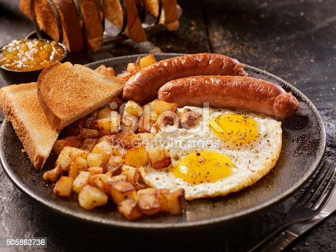 Breakfast with Sunny side up eggs, sausage, hash browns and toast-Photographed on Hasselblad H3D-39mb Camera