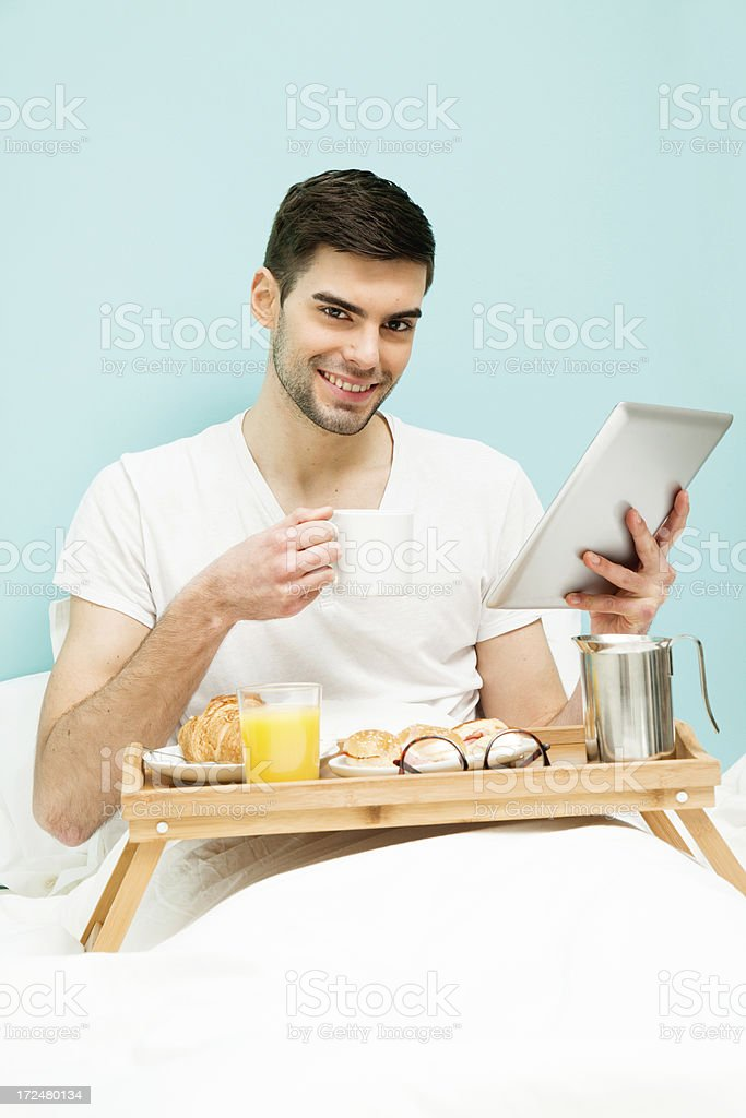 Breakfast with tablet royalty-free stock photo